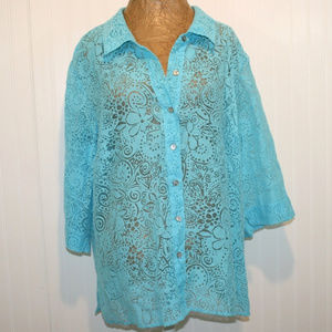 White Stag Sz 22 Lace Sheer Shirt/Swimsuit Coverup